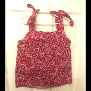 Other - Handkerchief Print Red Top Large 10/12 EUC 👩🏼🌾